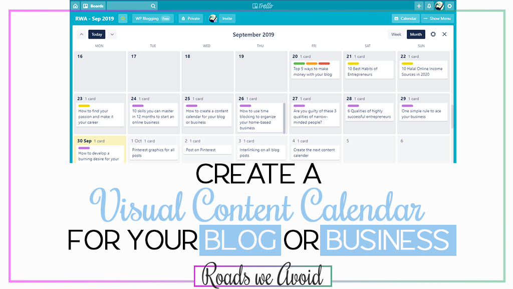 Create a Visual Content Calendar for Your Blog or Business